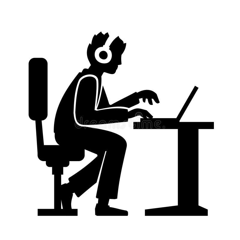 Programmerare Silhouette Working på hans dator stock illustrationer