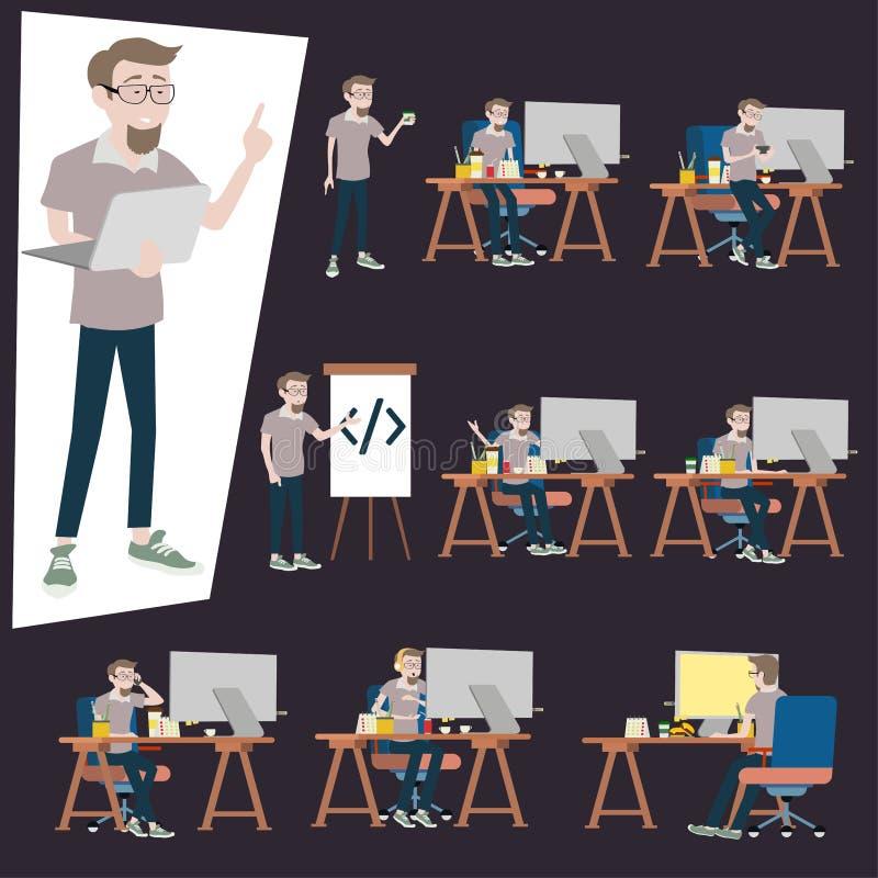 Programmerare som i regeringsställning arbetar skrivbordet Många handling av mannen som använder datorPC på det belamrade skrivbo royaltyfri illustrationer