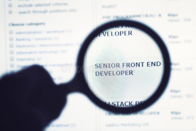 Programmerare som söker nytt jobb på internet royaltyfria foton