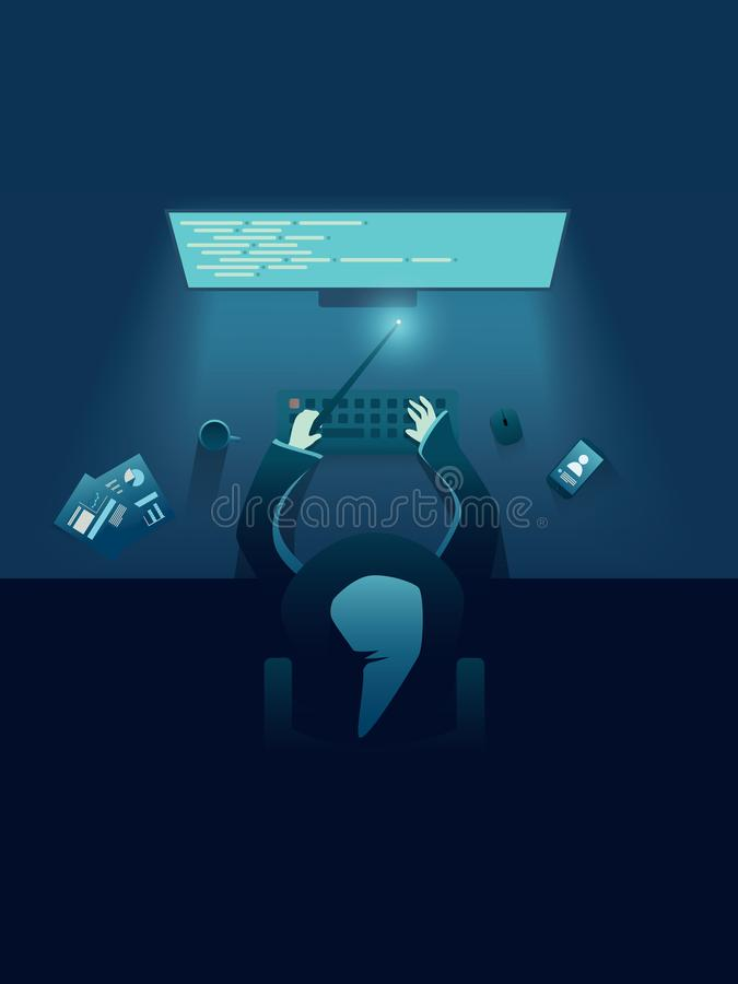 It-programmerare som snille- eller trollkarlsammanträde bak datoren Mall för IT-rekryteringaffisch för att hyra IT-bärare stock illustrationer