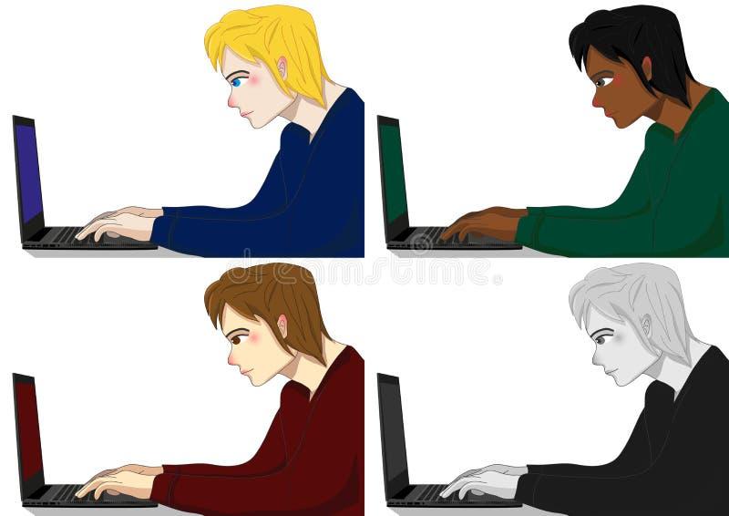 Programmerare Working Man vektor illustrationer