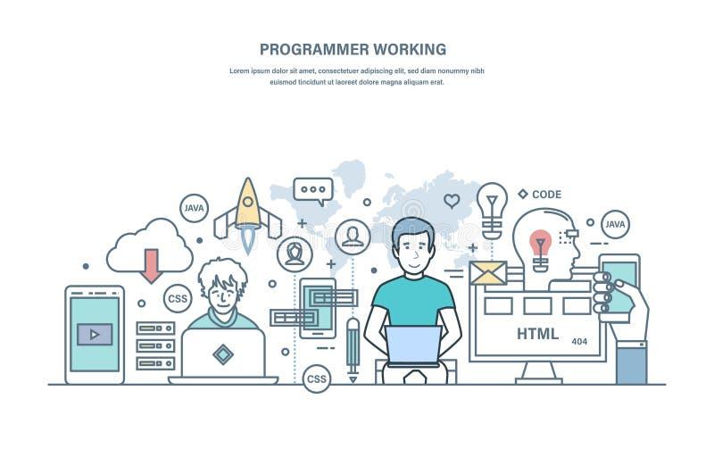 Programmerarearbete Programmera i på hög nivå språk, process av att framkalla applikationer stock illustrationer