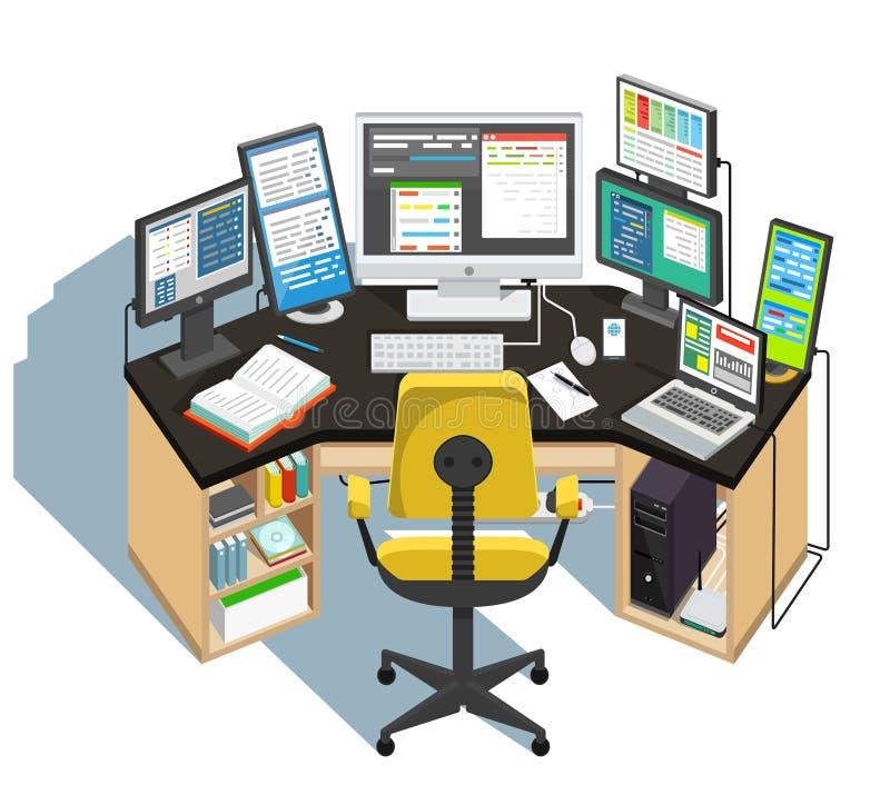 Programmerarearbetsplats på vit bakgrund vektor royaltyfri illustrationer