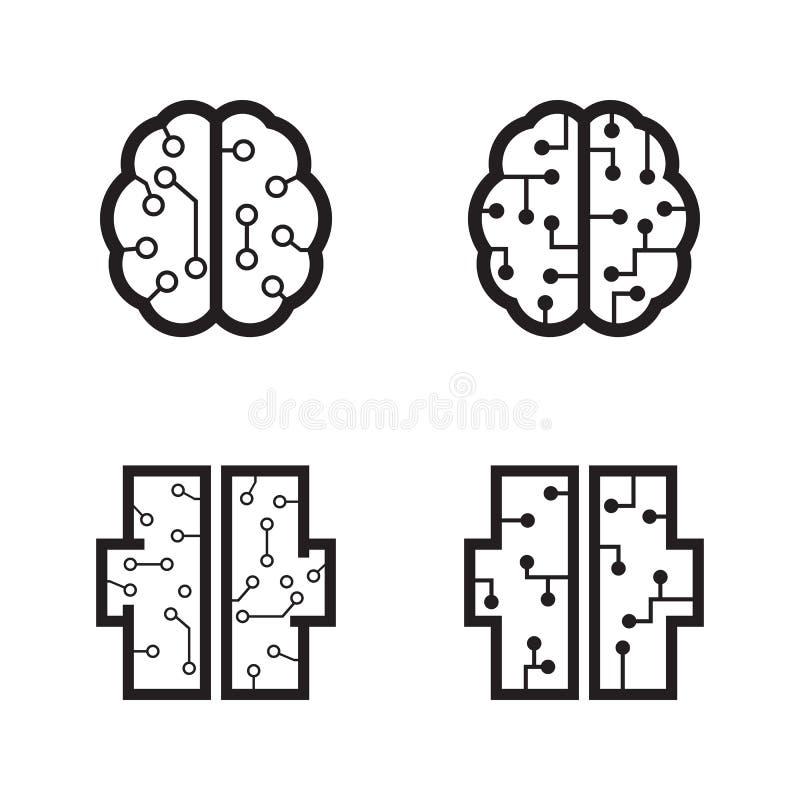 Programmerarehjärna vektor illustrationer