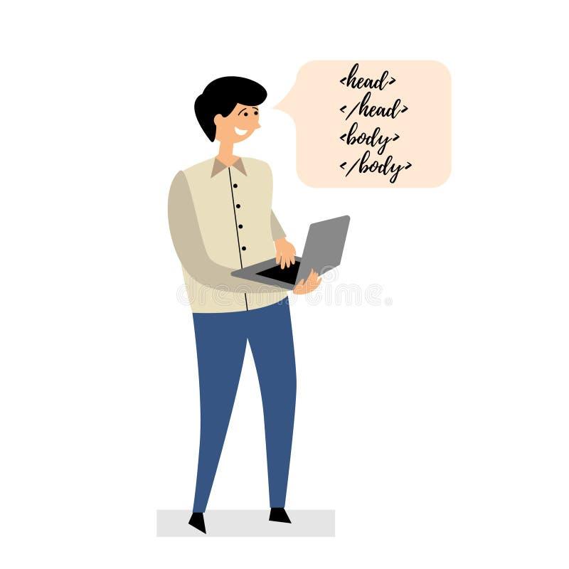 Programmeraren skriver kod på en bärbar dator royaltyfri illustrationer
