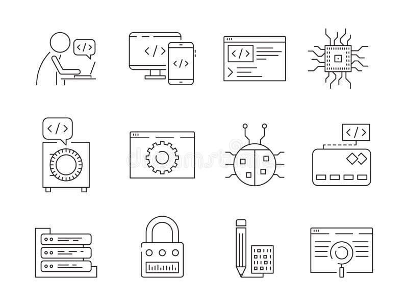 Programmeraresymbol Linje symboler för vektor för teknik för provning för system för qa för knutpunkter för knipor för fel för ar royaltyfri illustrationer