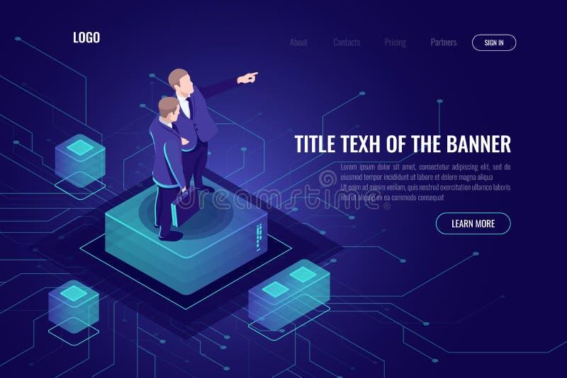 Programmerareteknikerbegrepp, två män som tillsammans konsulterar, löser komplexa problem och framkallar ett plan, peka för hand vektor illustrationer