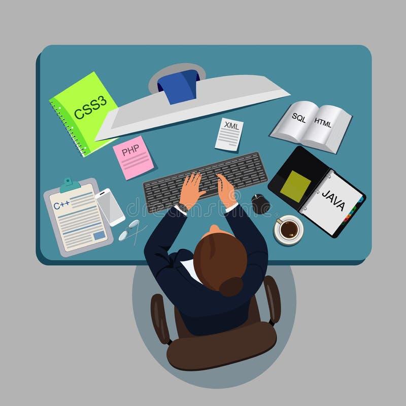 Programmerend, codding, vectorillustratie stock illustratie