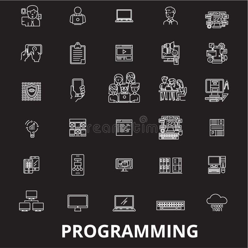 Programmerend de editable die vector van lijnpictogrammen op zwarte achtergrond wordt geplaatst Programmerende witte overzichtsil royalty-vrije illustratie