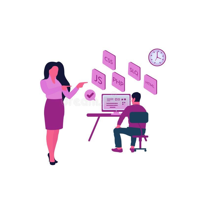 Programmerend de ontwerpsjabloonconcept van de Vaardigheden Modern vlak webpagina de Programmering van Vaardigheden voor website  royalty-vrije illustratie