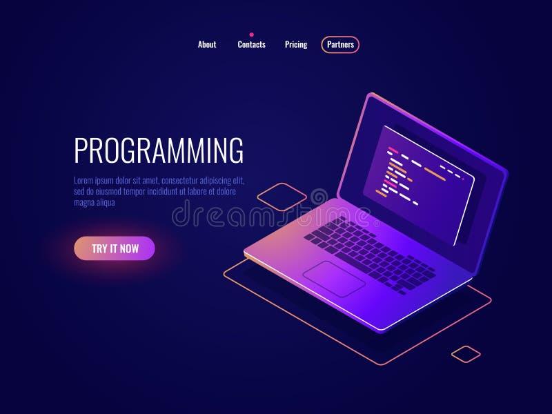 Programmering en code die isometrisch pictogram, software-ontwikkeling, laptop met tekst van programmacode schrijven inzake het s stock illustratie
