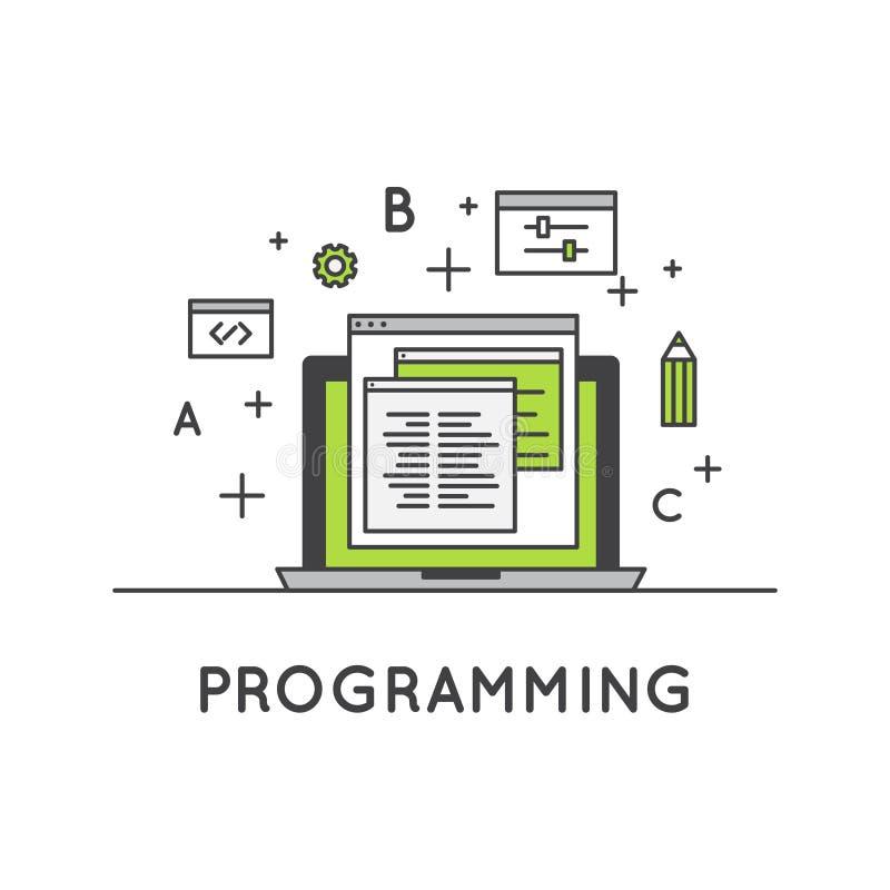 Programmering en Web Ontwikkeling of SEO Process en Optimalisering vector illustratie