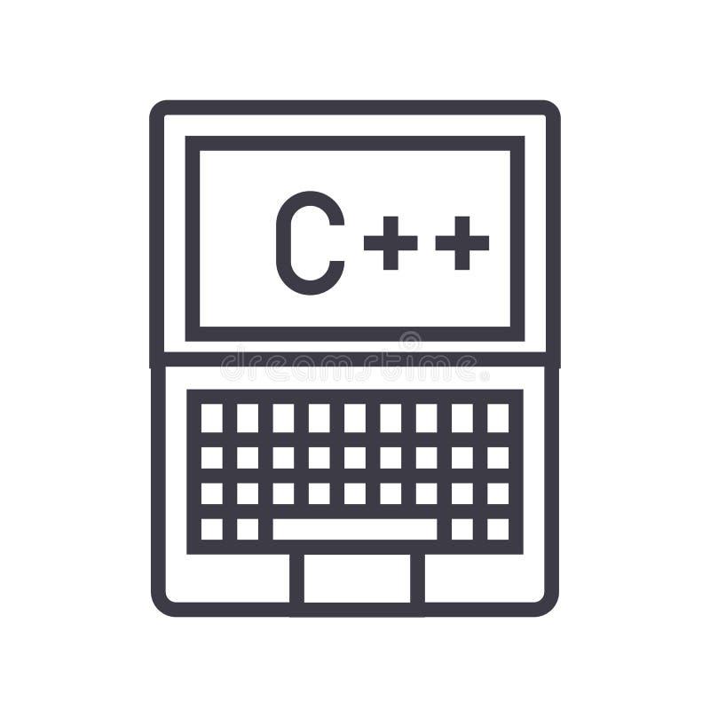 Programmering, het coderen, c plus vectorlijnpictogram, teken, illustratie op achtergrond, editable slagen royalty-vrije illustratie