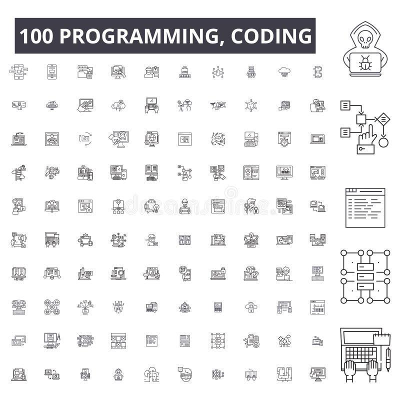 Programmering, het coderen editable lijnpictogrammen, 100 vectorreeks, inzameling Programmering, het coderen zwarte overzichtsill vector illustratie