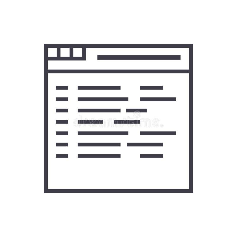 Programmering, het coderen vectorlijnpictogram, teken, illustratie op achtergrond, editable slagen stock illustratie