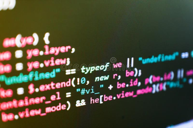 Programmering van Internetwebsite Codagecyberspace concept Programmeur Developer Screen royalty-vrije stock foto