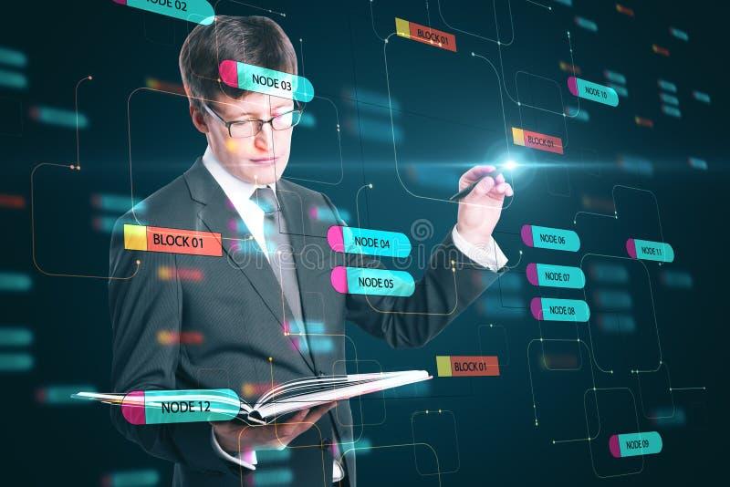 Programmeringskoncept med en affärsman som tittar i en bok och rör vid en digital skärm med nodträd arkivbild