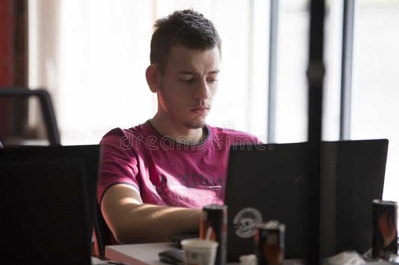 Programmers at work stock photos