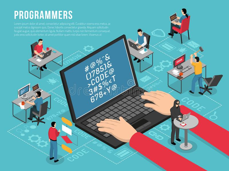 Programmers Work Isometric Conceptual Composition. Computer programmers work Isometric conceptual composition poster with software developer code sample on vector illustration