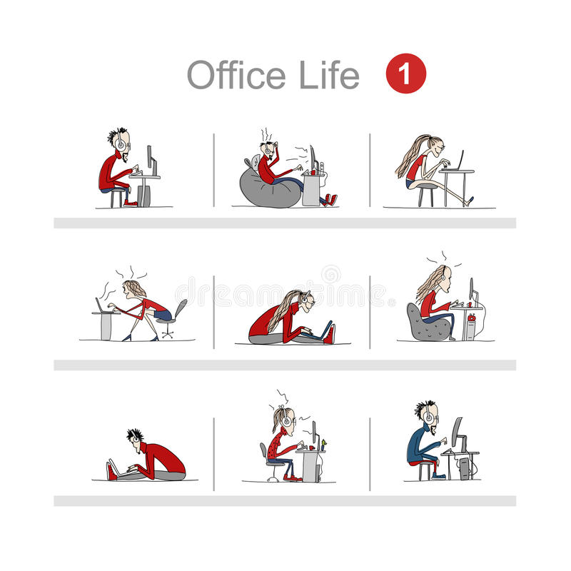 Programmers at work, office life, sketch for your design. Vector illustration royalty free illustration