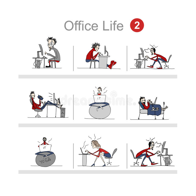 Programmers at work, office life, sketch for your design. Vector illustration vector illustration