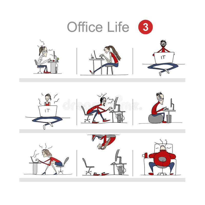 Programmers at work, office life, sketch for your design. Vector illustration stock illustration