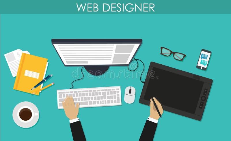 Programmeur, codeur in de werkplaatszitting bij een computer Softwarecodage, programmeertalen, het testen, het zuiveren, website  royalty-vrije illustratie