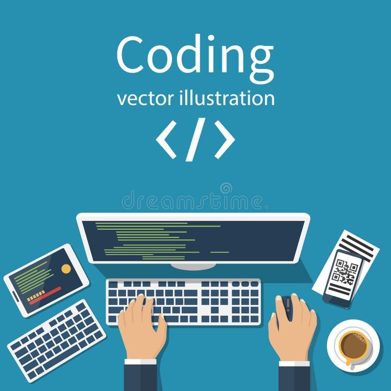 Programmeur, codeursvector royalty-vrije illustratie