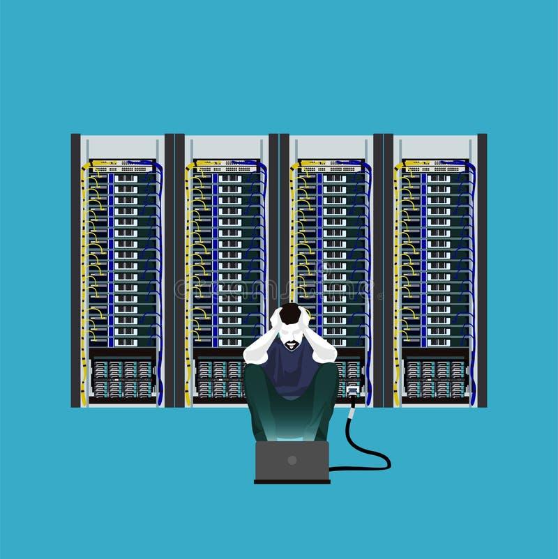 Programmeur in de serverruimte royalty-vrije illustratie