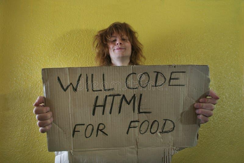 Programmeur de sourire affamé images libres de droits