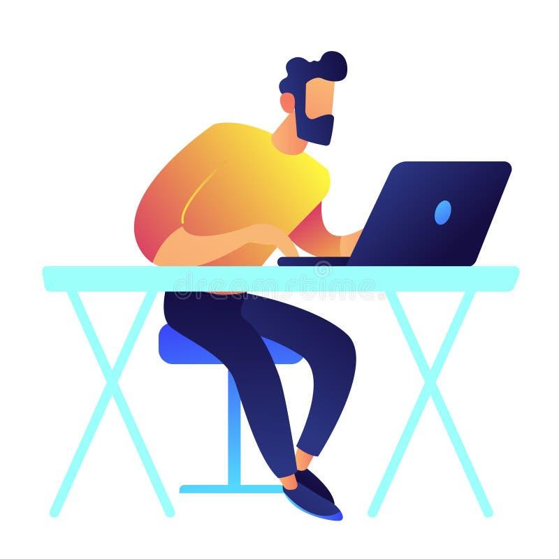 Programmeur die aan laptop vectorillustratie werken royalty-vrije illustratie