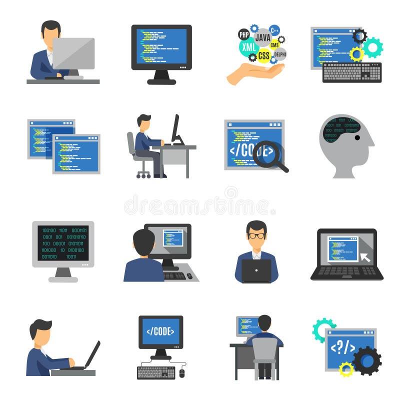 Programmeur Icons Flat Set stock illustratie