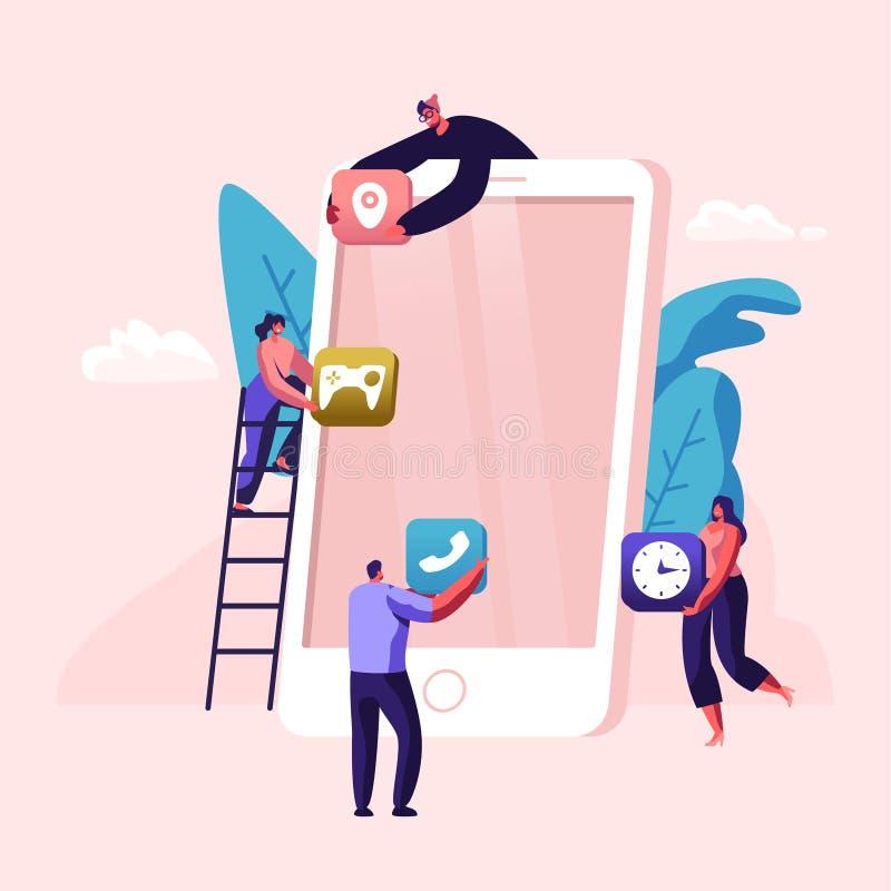 Programmeurs, caractères de concepteurs fonctionnant ensemble créant le nouveau logiciel ou demande de site Web d'équipe mobile e illustration libre de droits