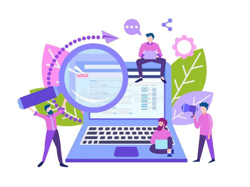 Programmeurs en ontwerpers de zoekmachines van de opstellingsplaats stock illustratie