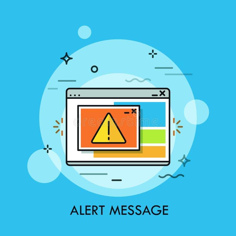 Programmez la fenêtre montrant la marque d'exclamation à l'intérieur de la triangle jaune Concept de message vigilant critique, e illustration libre de droits