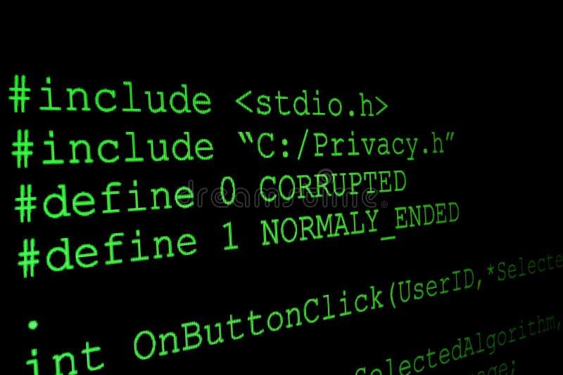 Programmez le code sur un moniteur illustration stock