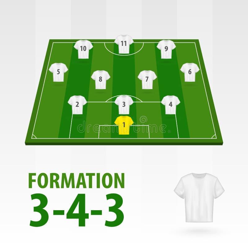 Programmi dei giocatori di football americano, formazione 3-4-3 Mezzo stadio di calcio illustrazione vettoriale