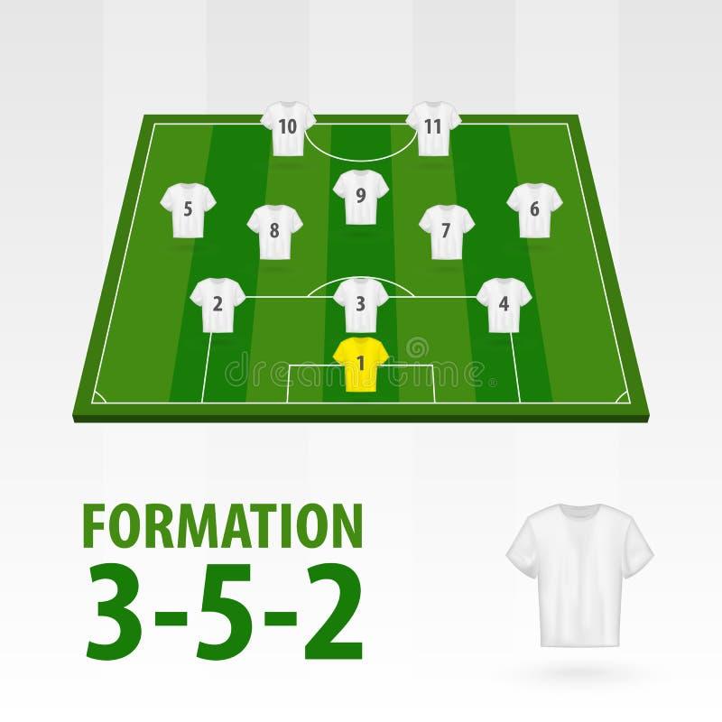 Programmi dei giocatori di football americano, formazione 3-5-2 Mezzo stadio di calcio illustrazione di stock