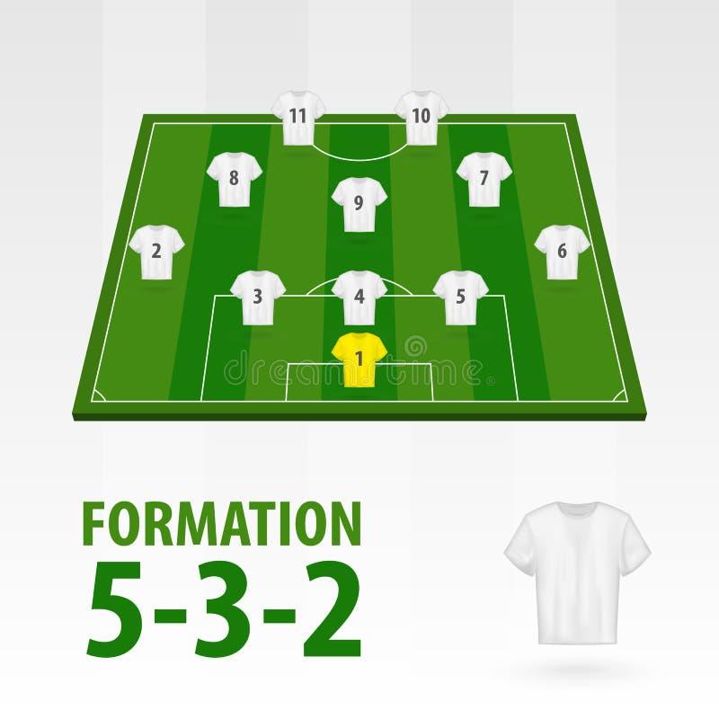 Programmi dei giocatori di football americano, formazione 5-3-2 Mezzo stadio di calcio royalty illustrazione gratis