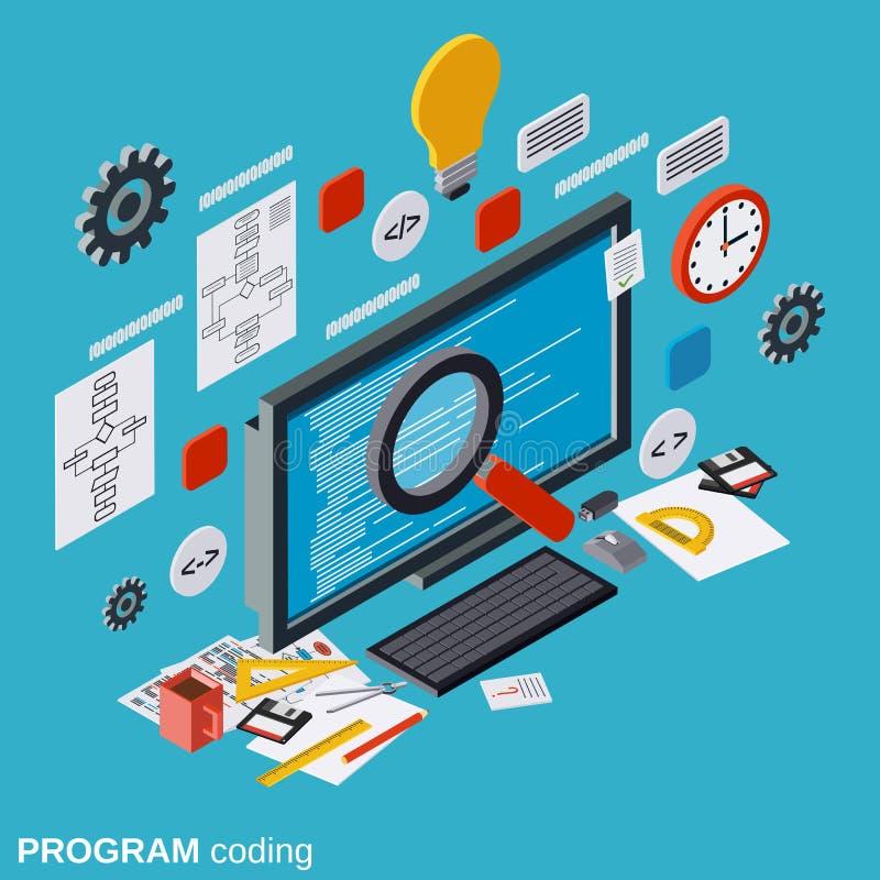 Programmi la codifica, l'ottimizzazione di SEO, lo sviluppo di applicazioni, concetto di programmazione di vettore di web illustrazione vettoriale