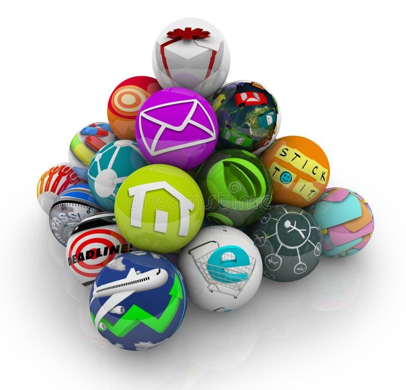 Programmi mobili del software applicativo di Apps in piramide illustrazione di stock