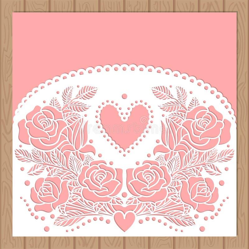 Programmierbarer Laser-Schneider Schattenbildausschnittmuster mit Blume und Blättern Geschnittenes Papierelement für Heiratseinla lizenzfreie abbildung