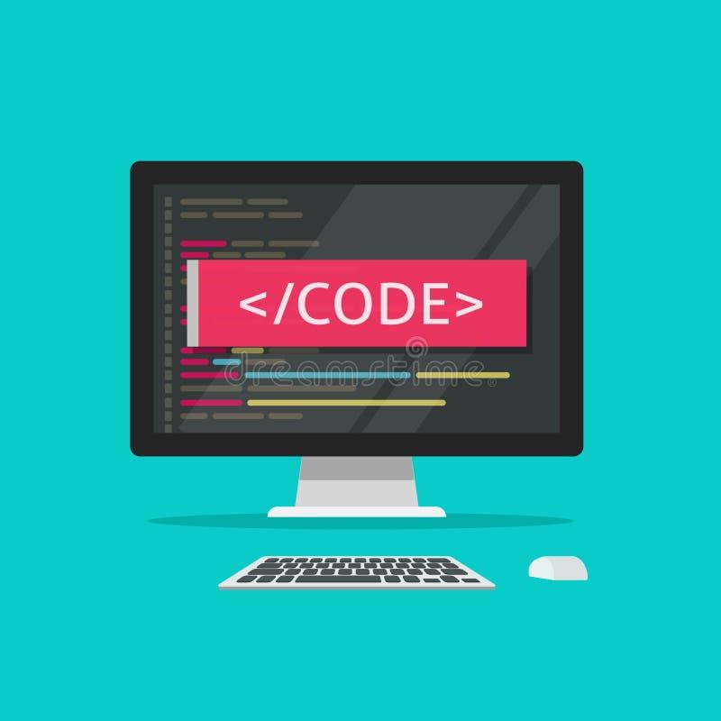 Programmiercode auf Computervektorillustration, der Programmkodierung oder Entwicklungsprozess auf Arbeitsplatzrechnerkonzeptkari stock abbildung