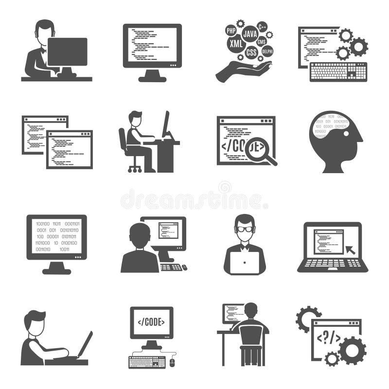 Programmierer Icons Set lizenzfreie abbildung