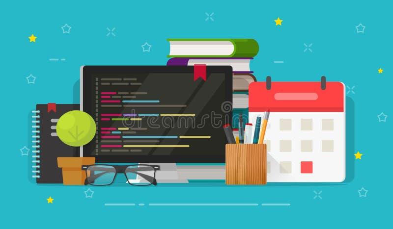 Programmiererdesktop- und -bildschirm und Codevektorillustration, flache Karikatur, die auf PC programmiert oder Arbeitsplatz kod lizenzfreie abbildung