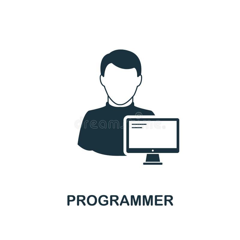Programmiererikone Einfarbiger Artentwurf von der Berufikonensammlung Ui Piktogramm-Programmiererikone des Pixels perfekte einfac vektor abbildung