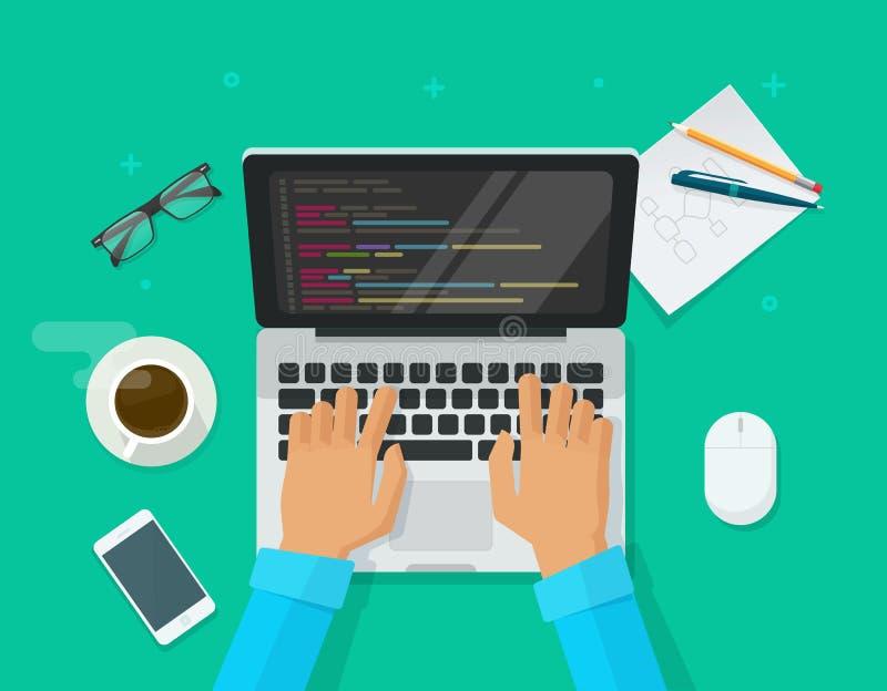 Programmiererkodierung auf Laptop-Computer auf Arbeitsschreibtisch-Vektorillustration, flacher Freiberufler der Karikatur, der au lizenzfreie abbildung