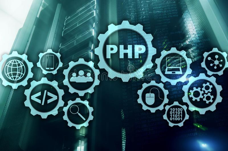 Programmiersprache PHP Sich entwickelnde Programmierung und Kodierung von Technologien Cyberraumkonzept stock abbildung