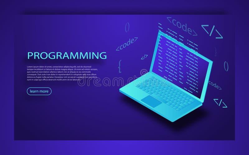 Programmierung der Anwendung und des Softwareentwicklungskonzeptes, Laptop mit Programmcode auf Schirm stock abbildung