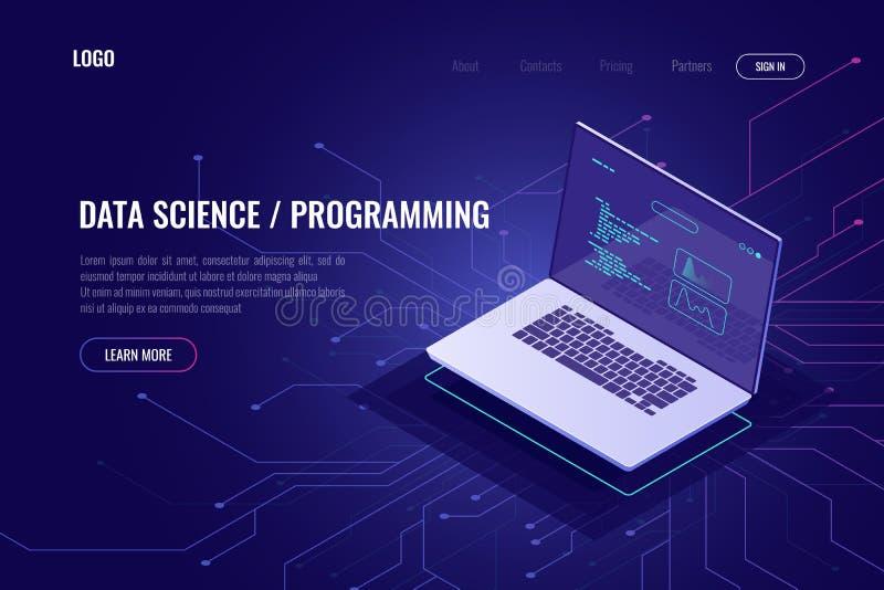 Programmierung und isometrische Ikone der Softwareentwicklungs-Webseitenfahne, Laptop-PC mit Programmcode auf Schirm, Daten vektor abbildung